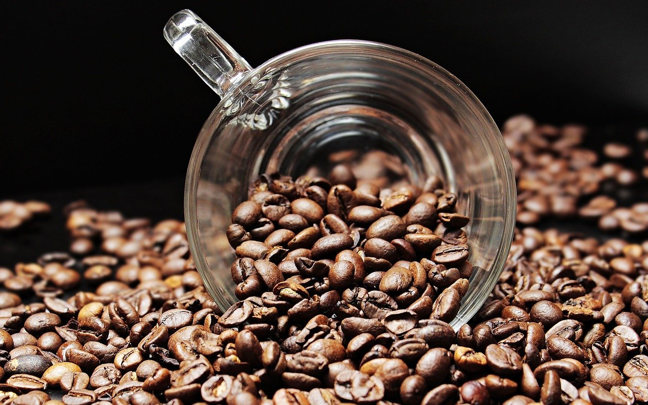 coffee beans, coffee cup, cup